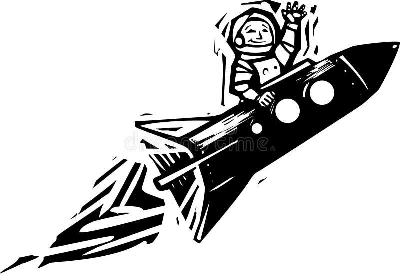 Retro Radziecki chłopiec kosmonauta ilustracja wektor