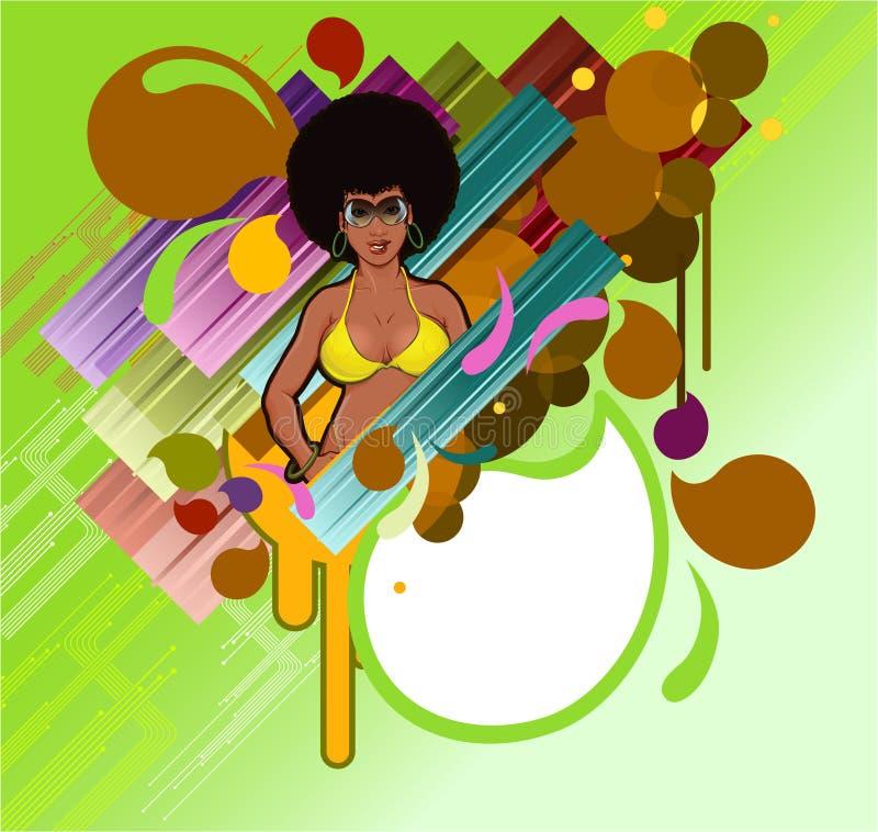 Retro ragazza di afro illustrazione di stock