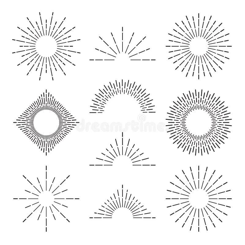 Retro raggi dello sprazzo di sole Il tramonto o l'alba radiante ha scoppiato le linee leggere Insieme di simboli disegnato a mano illustrazione di stock