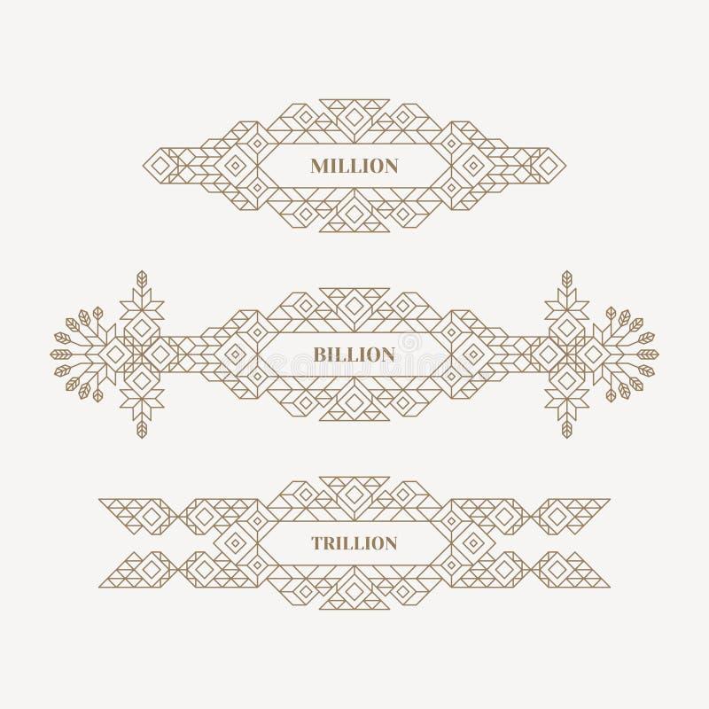 Retro- Rahmen mit Platz für Text Weinlese-Dekorations-Element Illustration für Vermarktenund Geschäfts-Darstellung Linie Kunstdes lizenzfreie abbildung