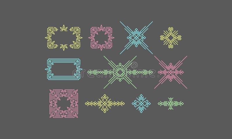 Retro- Rahmen mit Platz für Text Weinlese-Dekorations-Element Linie Art Design für Einladungen, Poster und Ausweise Vektor stock abbildung