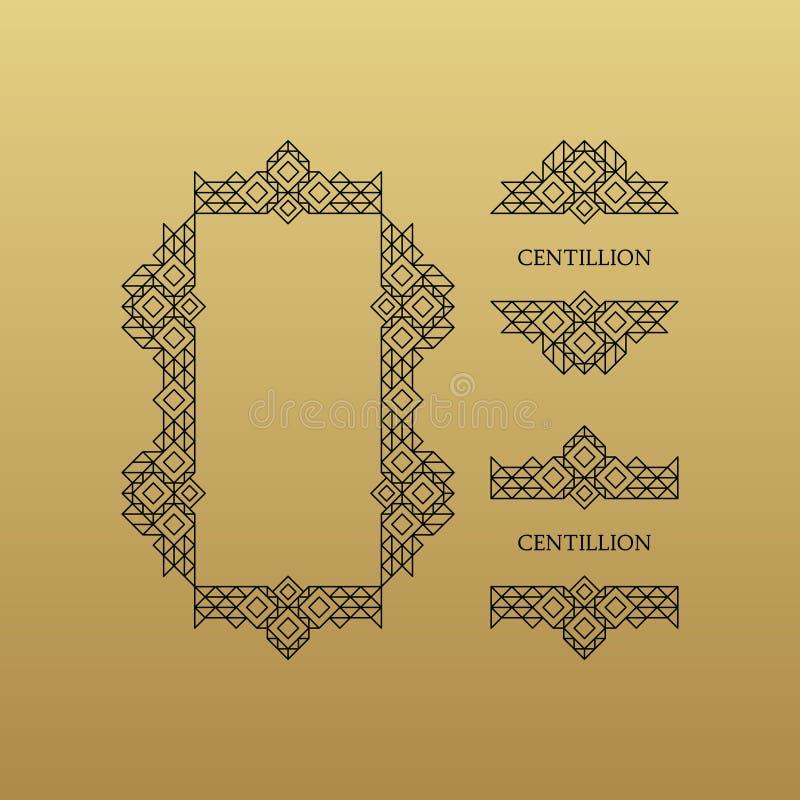 Retro- Rahmen mit Platz f?r Text Linie Kunstdesign lizenzfreie abbildung