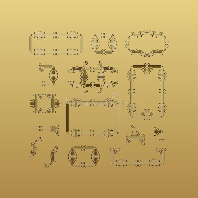 Retro- Rahmen mit Platz f?r Text Linie Kunstdesign Vektor-linearer Rahmen stock abbildung
