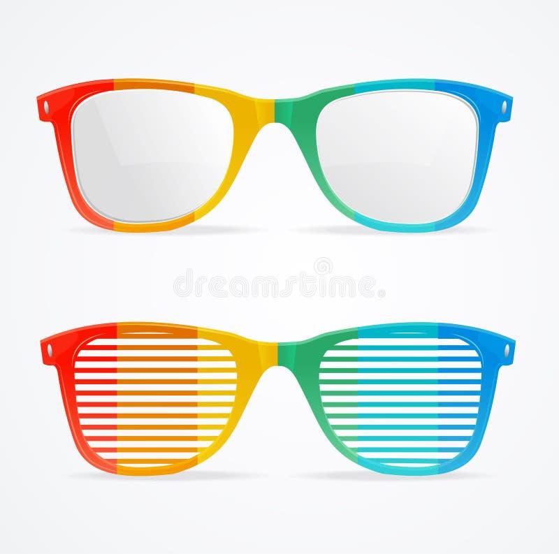 Retro Rainbow Striped Sunglasses Set. Vector royalty free illustration