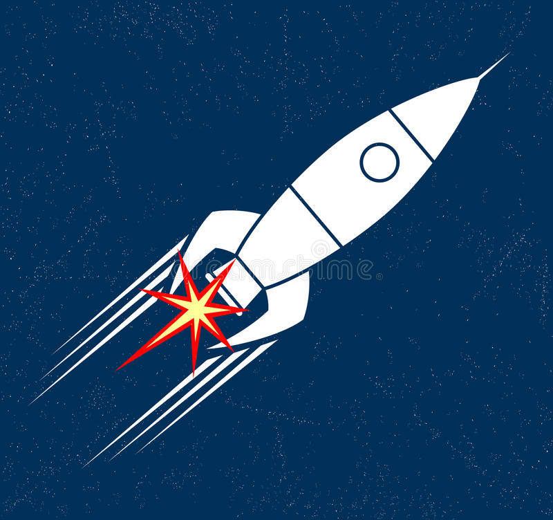 Retro raket stock illustratie