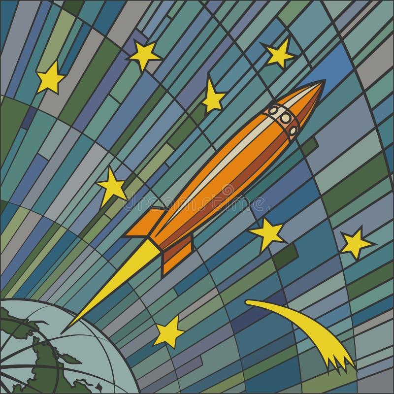 Retro raket royaltyfri illustrationer