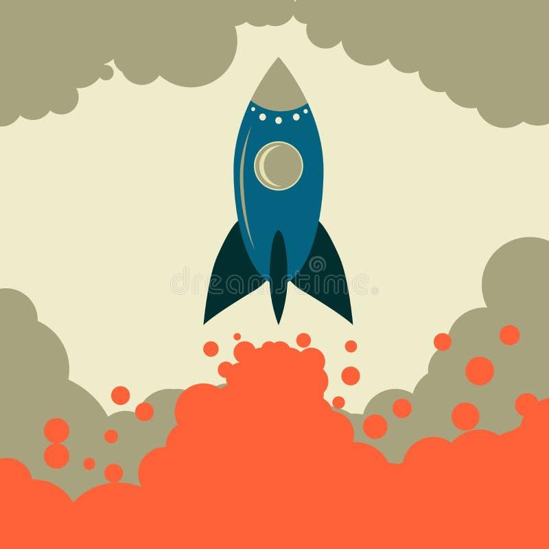 Retro raket vector startzaken stock illustratie