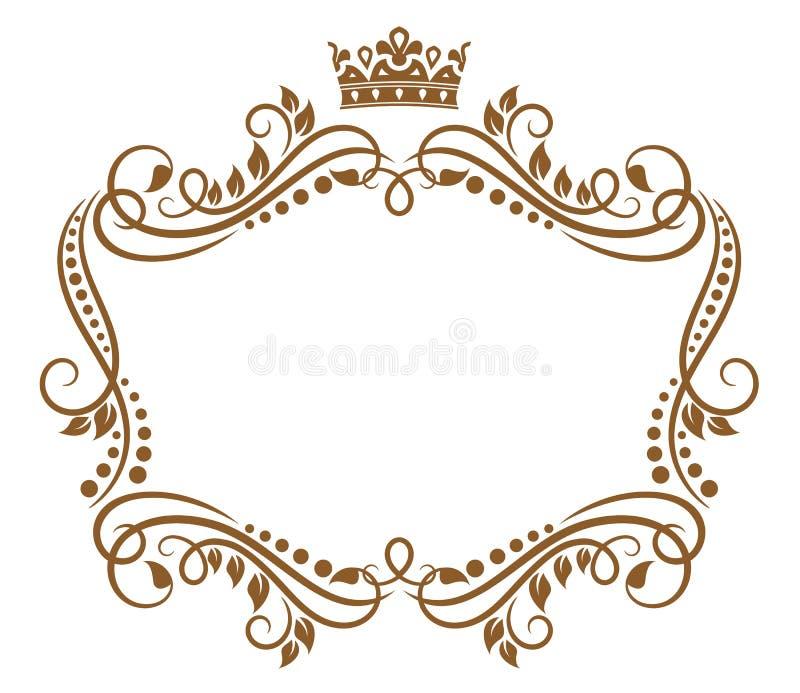 Retro ram med den kungliga kronan royaltyfri illustrationer