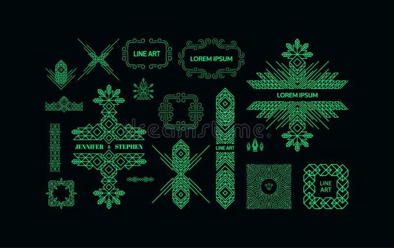 Retro rama z miejscem dla teksta Rocznik dekoraci element Kreskowej sztuki projekt dla zaproszeń, plakatów i odznak, ilustracja wektor