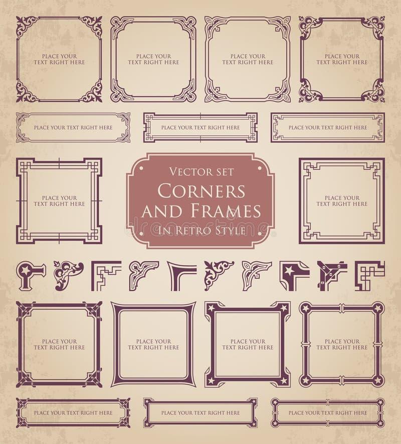 Retro ramy, kąty i kaligraficzni projektów elementy, ilustracja wektor