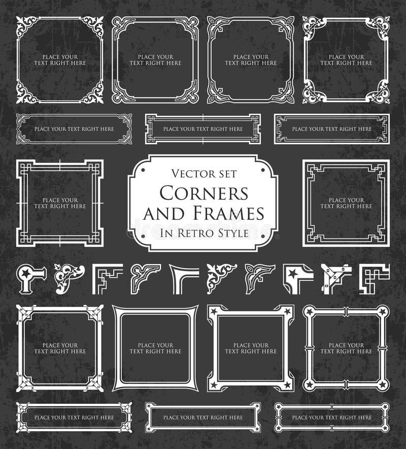 Retro ramy, kąty i kaligraficzni projektów elementy na chalkboard tle, royalty ilustracja