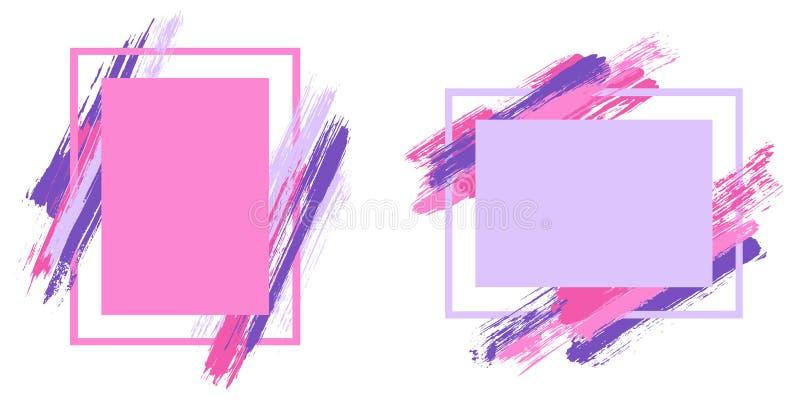 Retro ramy z farby muśnięciem muskają wektorową kolekcję ilustracji