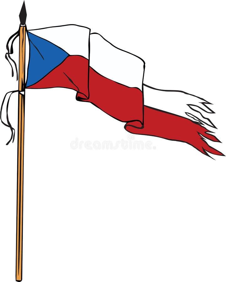 Retro rasgada rasgada de la República Checa de la bandera libre illustration