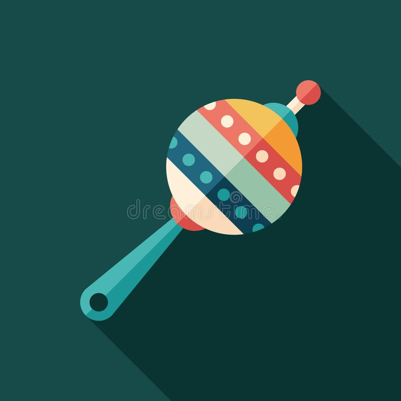 Retro rattle toy flat square icon with long shadows. royalty free illustration
