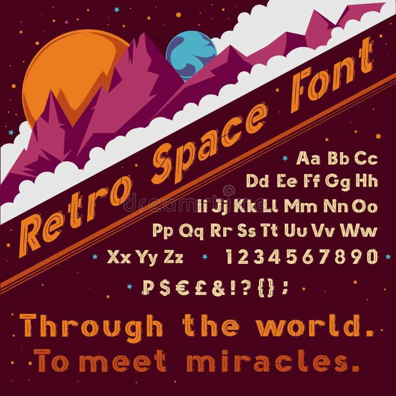 Retro- Raumguß des Vektors Kosmisches Alphabet der Weinlese lizenzfreie abbildung
