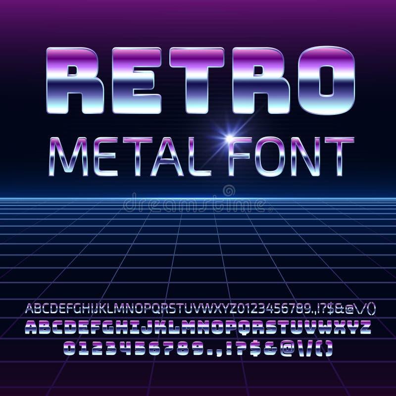 Retro- Raummetallvektorguß Futuristische Chrombuchstaben und -zahlen Metallica in der Art der Weinlese 80s stock abbildung