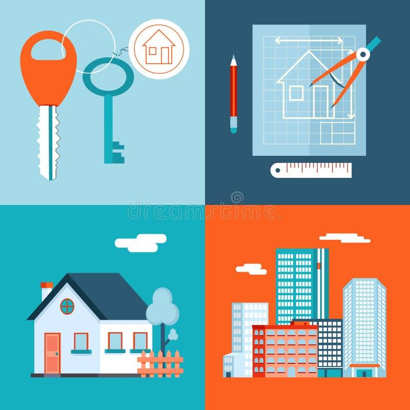 Retro Real Estate symboli/lów Intymny dom ilustracja wektor