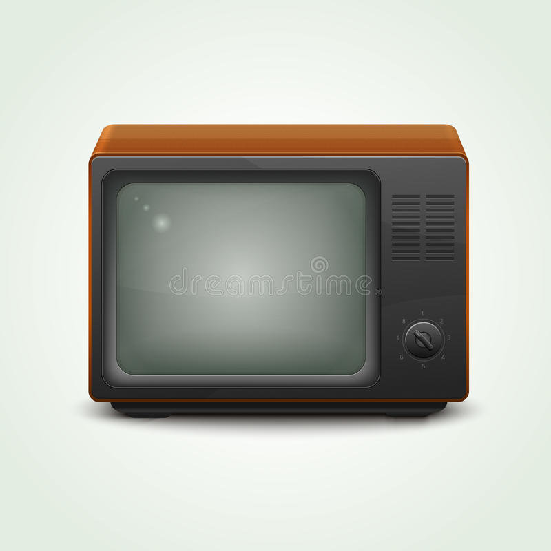 Retro realistic tv set. On light green background royalty free illustration