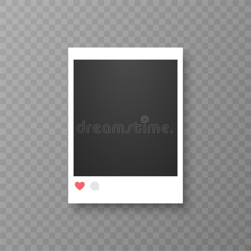 Retro realistic vector photo frame or social media template. Placed on transparent background vector illustration. stock illustration