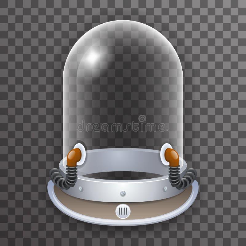 Retro Realistisch van de Astronautenspaceman scientist tantamareska van de Helm 3d Kosmonaut van de Affichetransperent het Glaspi stock illustratie
