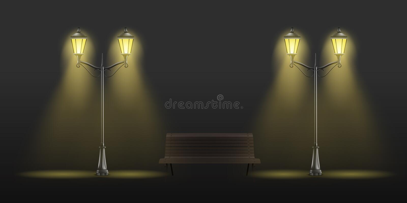 Retro realistische vectorreeks van de straatlantaarnslantaarn stock illustratie
