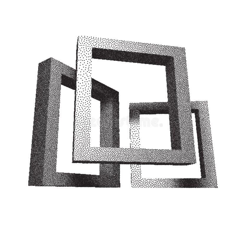 Retro- rechteckige Rahmen mit dotwork Schatten vektor abbildung