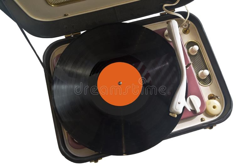Nineteen sixties vinyl record player overview. Early nineteen sixties vinyl record player spins a disc of memorable sounds. cutout vintage music dials orange stock photo