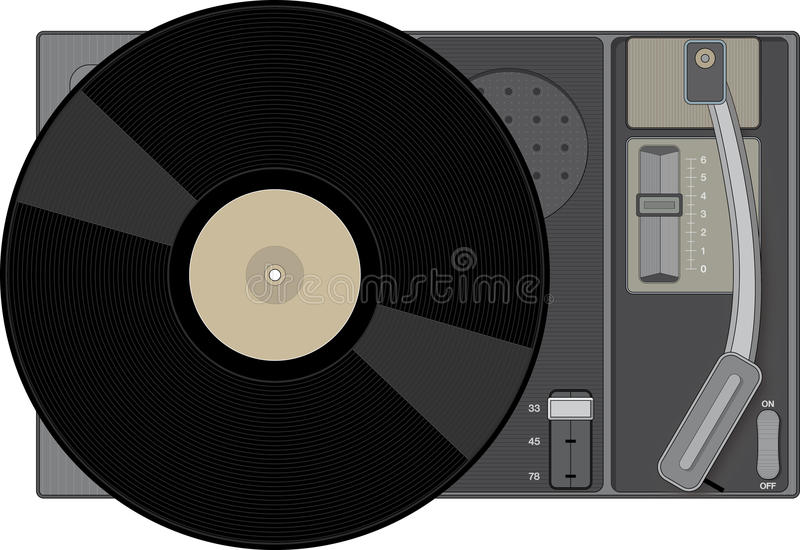 Retro record player with 33 rpm record. Stylish illustration of a retro record player royalty free illustration
