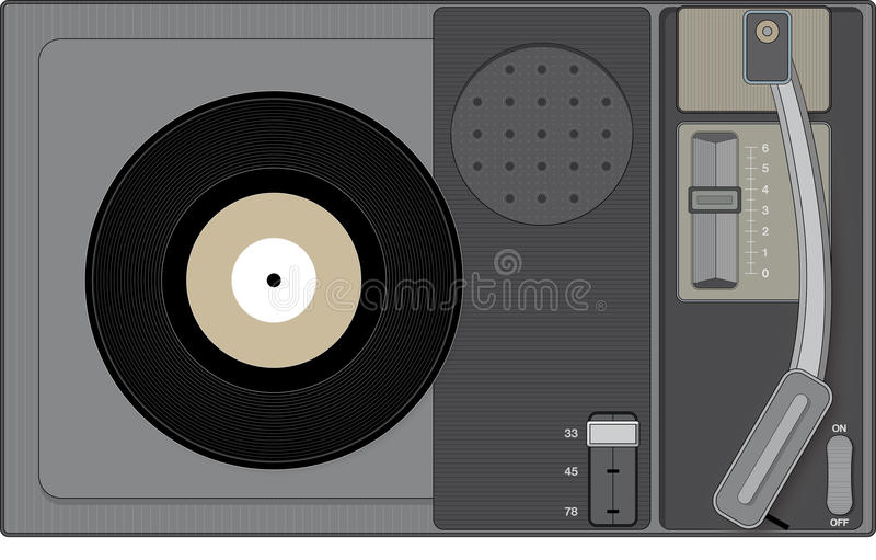 Retro record player with 45 rpm record. Stylish illustration of a retro record player stock illustration