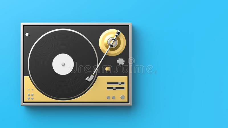 Retro record - vinyl player isolated on colored background.3D il vector illustration