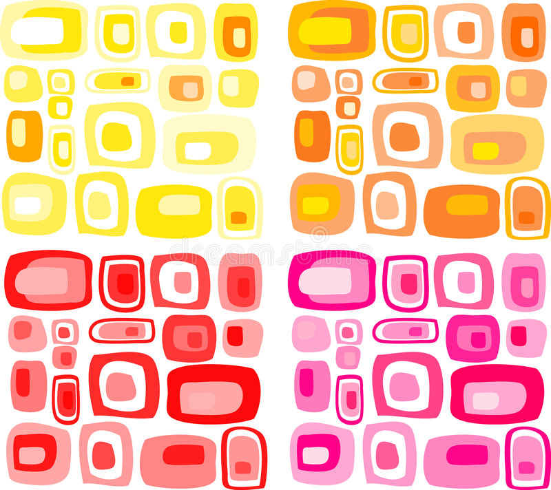 Retro rectangles patter. Retro pink yellow and orange rectangles pattern vector illustration