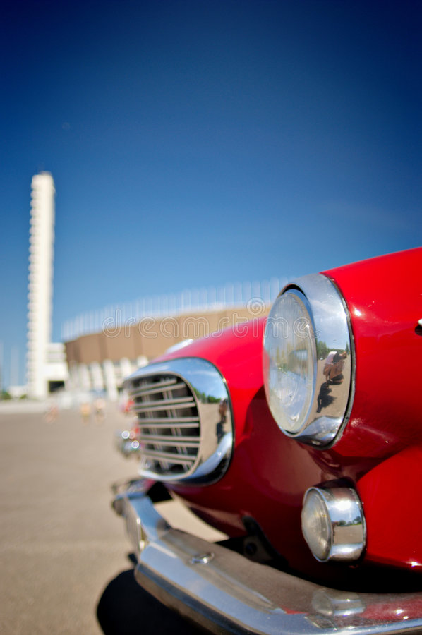 Retro Red Car stock photography