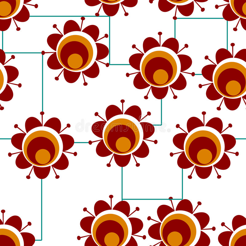 Retro red flowwers royalty free illustration