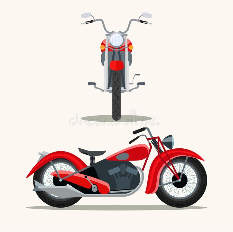 Retro red motorcycle vintage isolated. Front and side view. vector illustration