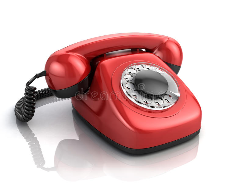 Retro red phone vector illustration