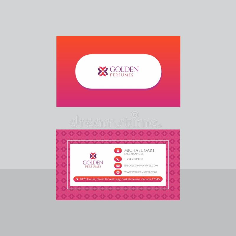 Retro Red And Pink Business Card Stock Illustration - Illustration ...