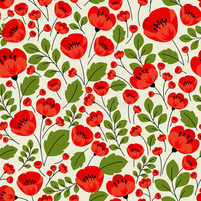 Retro red poppies seamless pattern stock illustration