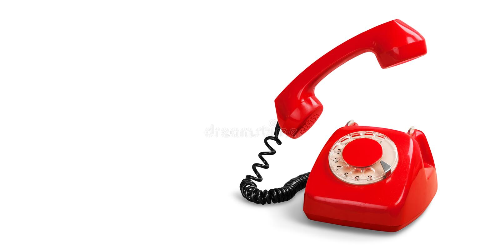 Retro red telephone. Red retro phone telephone call center contact us mint green stock images