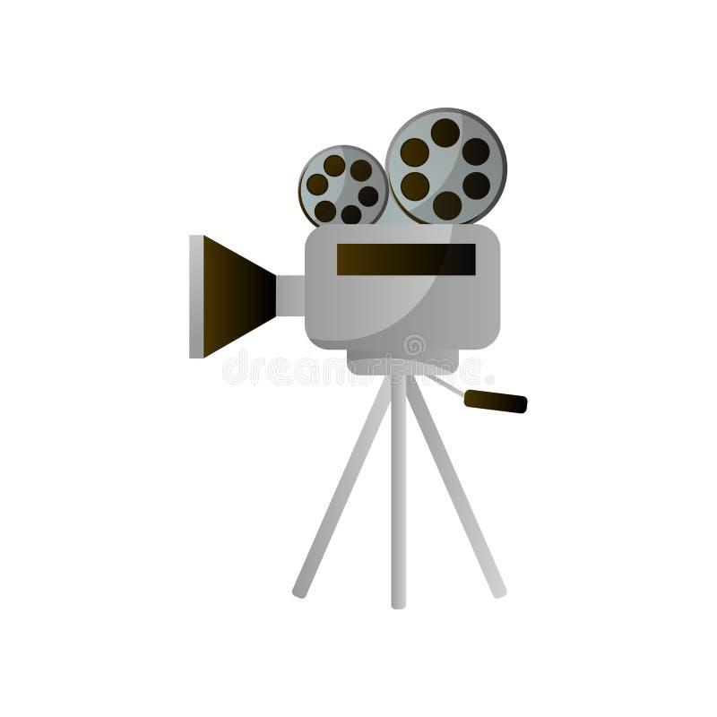 Retro reel camera for film production or city cinema vector illustration