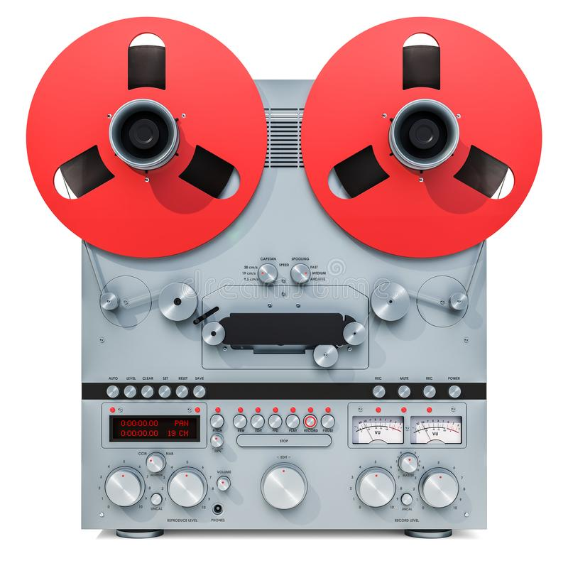 Retro registratore bobina a bobina, rappresentazione 3D illustrazione vettoriale