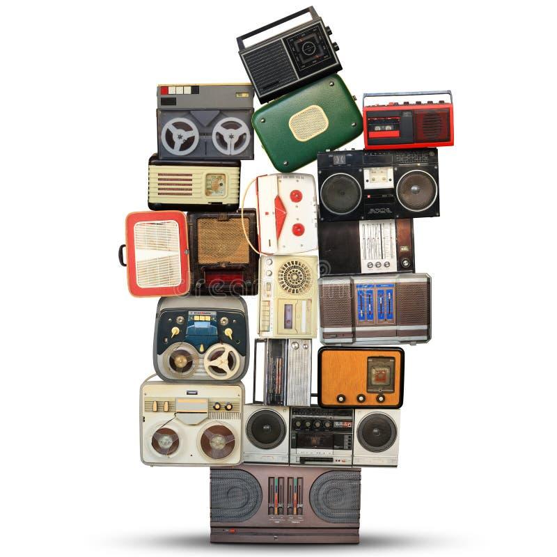 Retro registreringsapparat, ljudsignalsystem royaltyfri fotografi