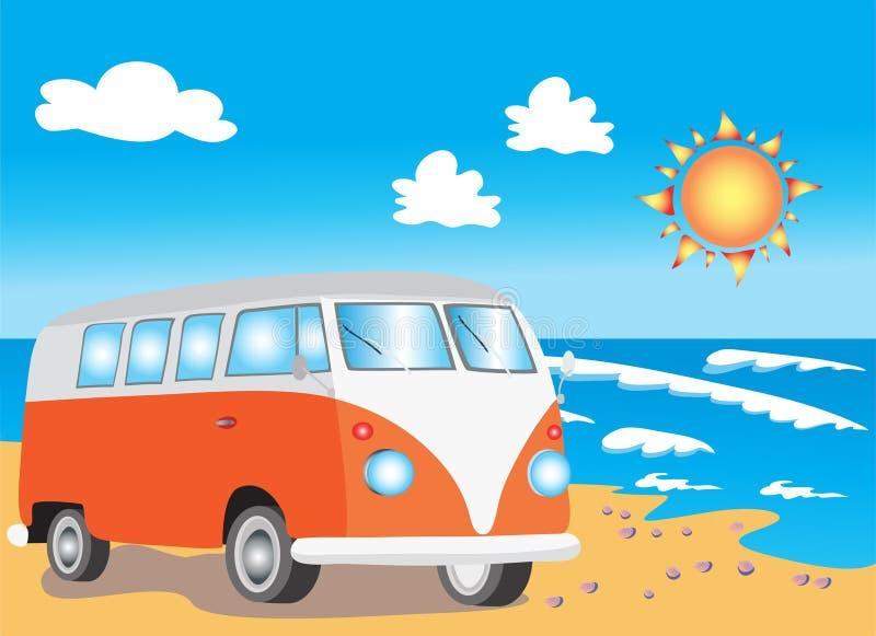 Retro- Reisemobil auf Strand lizenzfreie abbildung