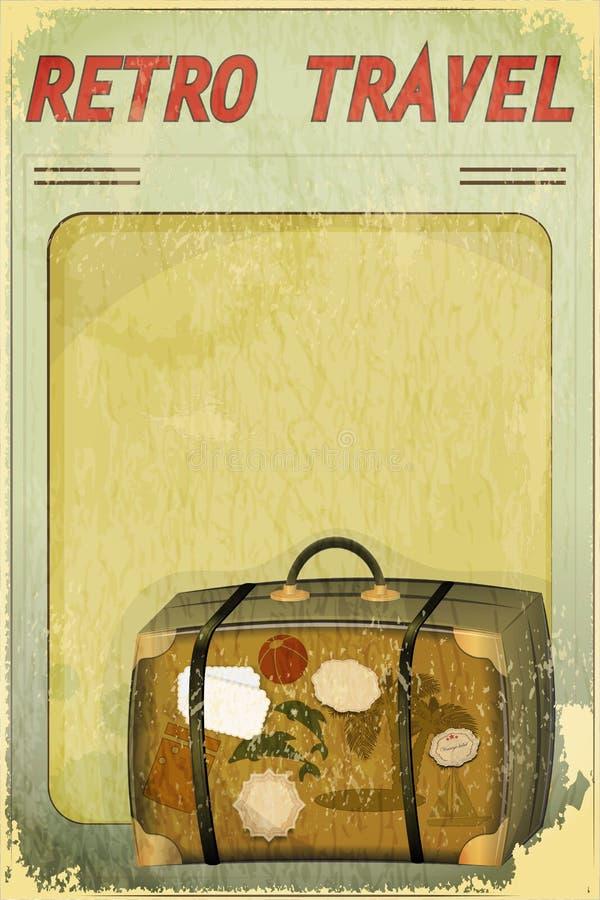 Retro- Reisen-Postkarte - alter Koffer lizenzfreie abbildung