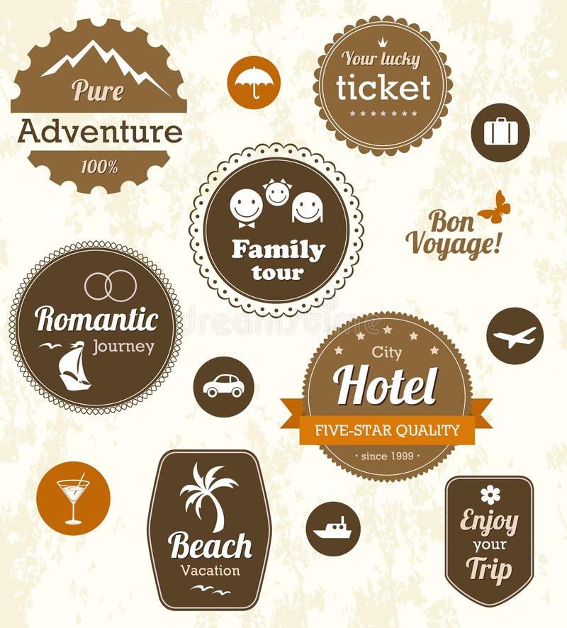 Retro reisetiketten stock illustratie