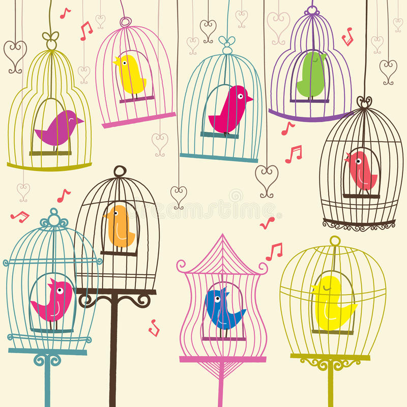 Retro- reizender Birdcage stock abbildung