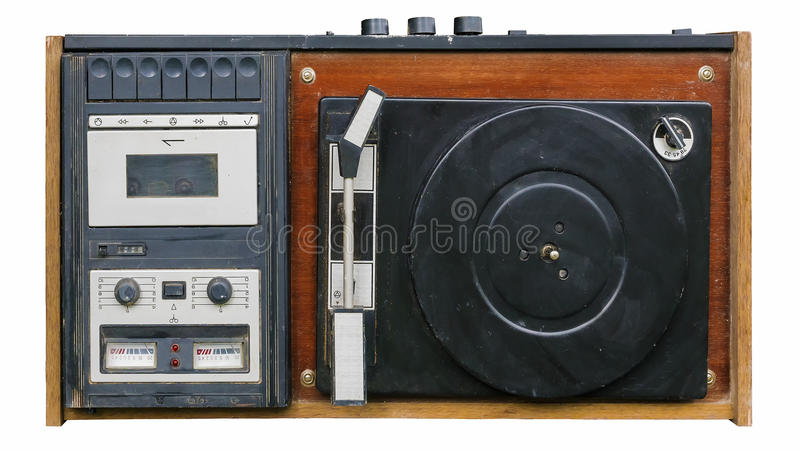 Retro- Rekordspieler-Vinylaufzeichnungen und Audiokassetten lizenzfreie stockfotos