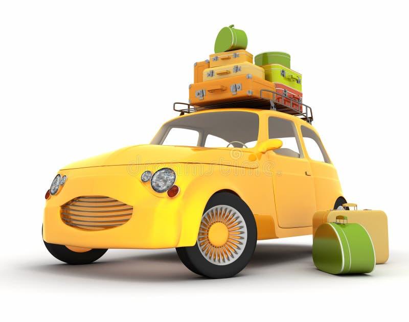 Retro resa f?r bil som ?r gult arkivbilder