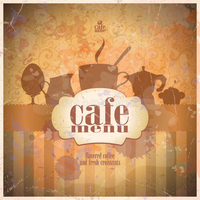 Retro restaurant menu card design. stock illustration
