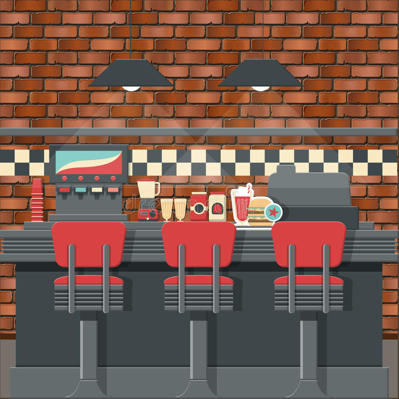 Retro- Restaurantinnenraum lizenzfreie abbildung