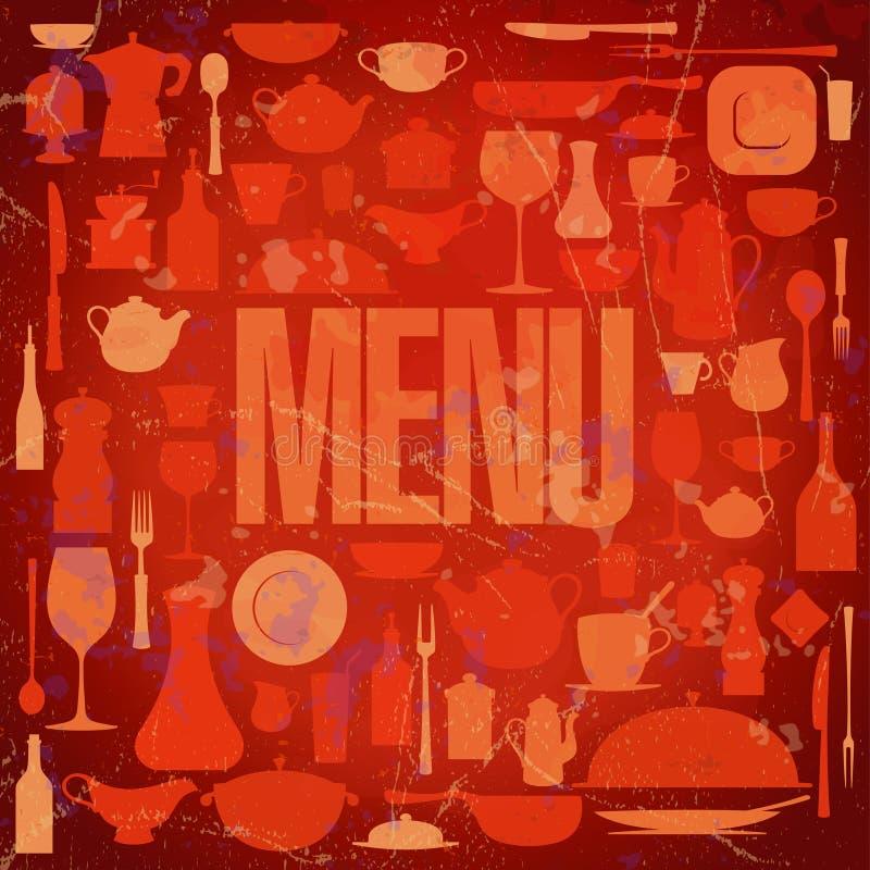 Retro Restaurantmenü-Kartenauslegung. lizenzfreie abbildung